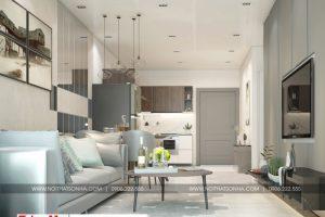 1 Thiết kế nội thất phòng khách bếp hiện đại căn hộ chung cư wilton tower sài gòn