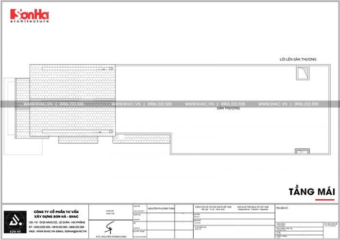 Mặt bằng công năng tầng mái nhà ống tân cổ điển 2 tầng tại Phú Thọ