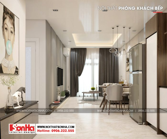Phương án thiết kế nội thất phòng bếp ăn phong cách hiện đại sang trọng ấm cúng