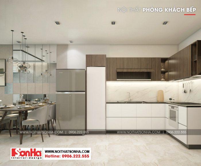 Mẫu thiết kế nội thất phòng bếp ấm cúng với gam màu trầm ấm và tinh tế