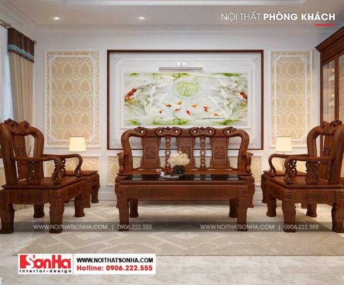 Thiết kế nội thất phòng khách giản dị nhưng ấn tượng với vật dụng bố trí hài hòa
