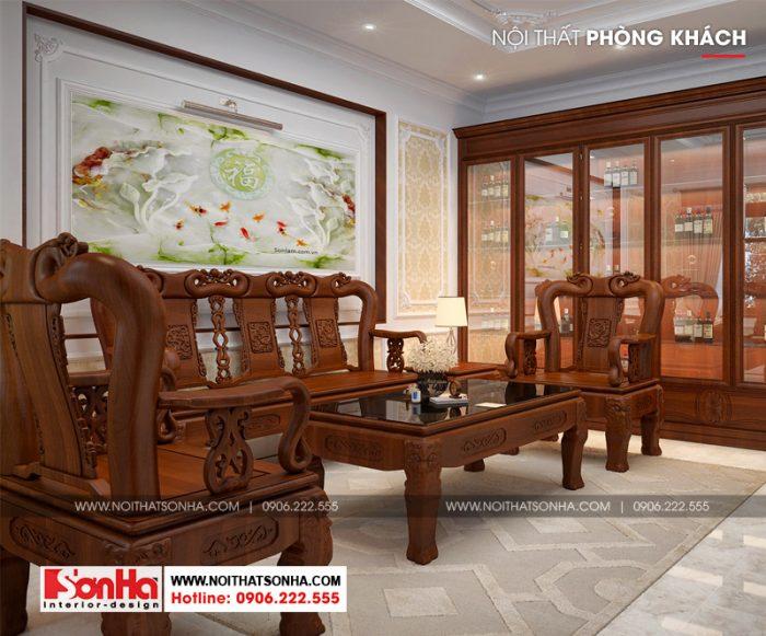 Không gian phòng khách được bố trí những vật dụng cơ bản và tiện nghi nhất
