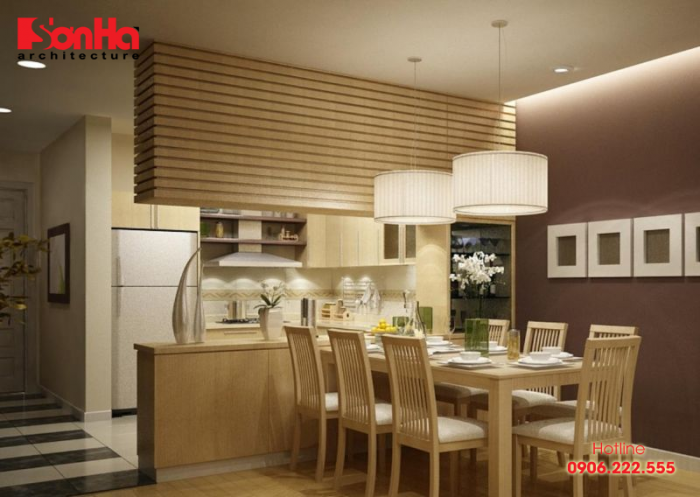 Bộ bàn ăn làm nên không gian phòng bếp ăn hoàn hảo cho căn hộ chung cư