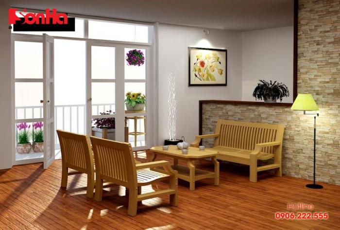 Bộ bàn ghế bằng gỗ theo phong cách truyền thống cho không gian mộc mạc