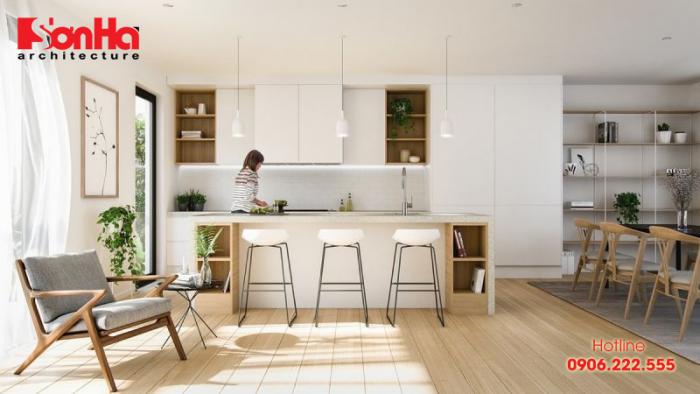 Chất liệu gỗ ngày càng được sử dụng phổ biến trong trang trí không gian bếp