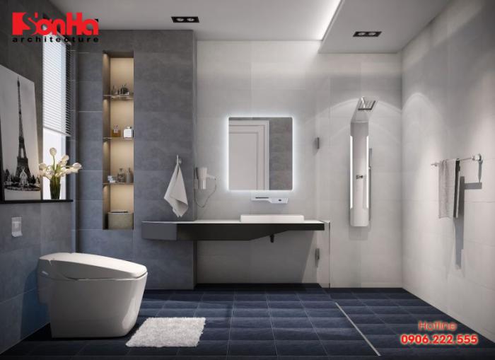Chỉ nên thiết kế phòng tắm với diện tích vừa phải, đủ để sử dụng với nội thất tiện nghi