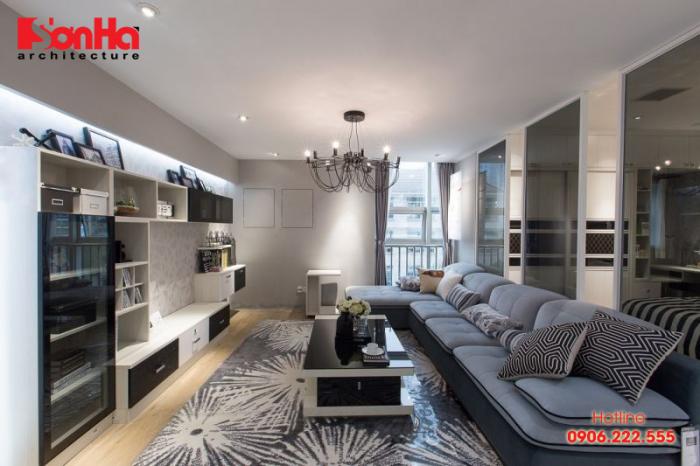 Đồ nội thất hiện đại và màu sắc đẹp làm nên sự hoàn hảo của phòng khách