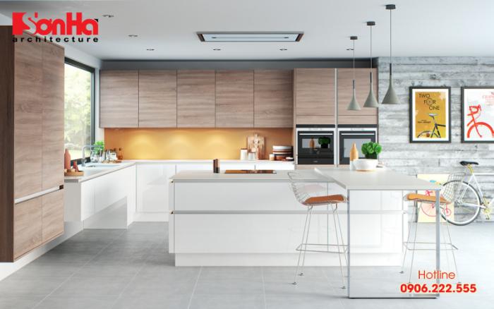 Đường nét của thiết kế nội thất hiện đại được vận dụng cho nhà bếp phong thủy