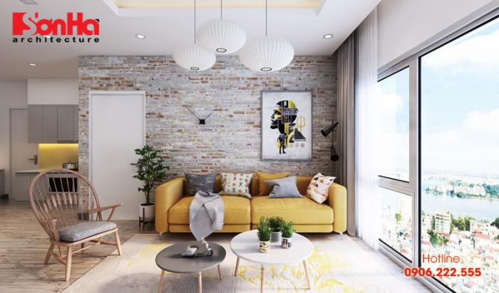 Gam màu tinh tế làm nên sự kết hợp hoàn hảo phòng khách bếp căn hộ