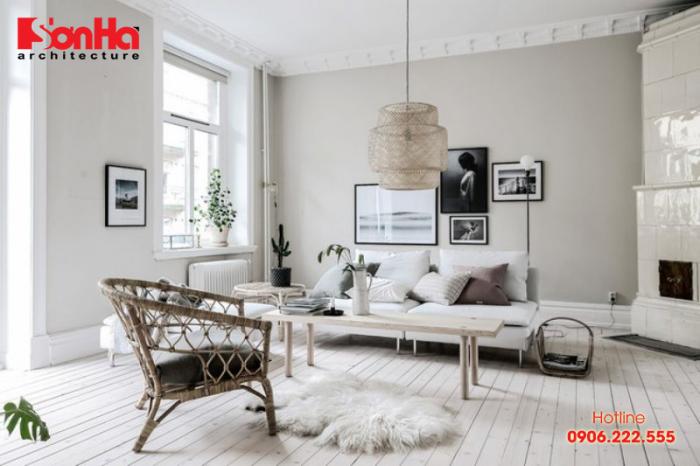 Gam màu trắng cũng là gợi ý hoàn hảo cho việc trang trí không gian phòng khách