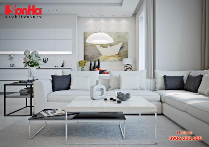 Gam màu trắng điểm nâu là sự lựa chọn tuyệt với để trang trí phòng khách