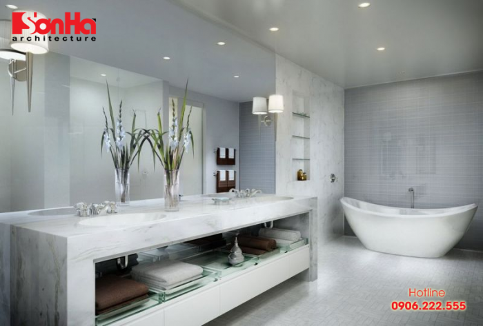 Gam màu xám trung tính được sử dụng linh hoạt trong thiết kế phòng tắm