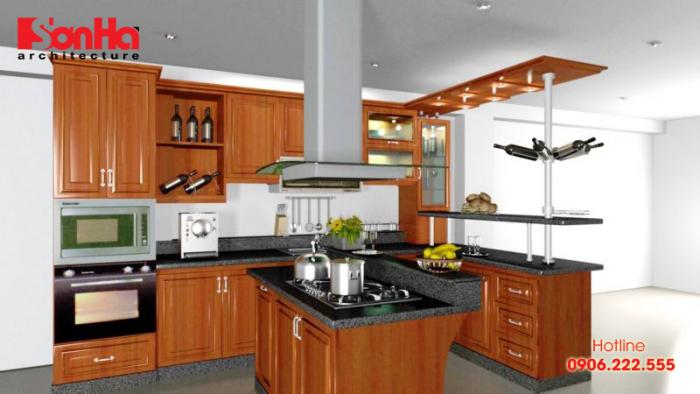 Gia chủ cần bố trí thêm máy hút mùi công suất lớn để xử lý mùi đồ ăn nấu nướng