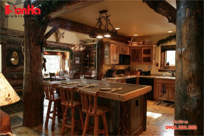 Không gian bếp ăn ấm cúng và ấn tượng với đồ nội thất gỗ