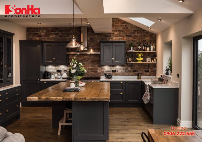 Không gian bếp đẹp phong cách Rustin sử dụng nội thất gỗ cùng tông màu
