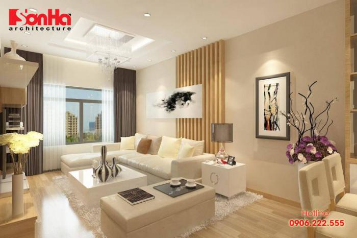 Không gian nội thất căn hộ hiện đại với sàn gỗ và đồ gỗ bố trí đẹp mắt