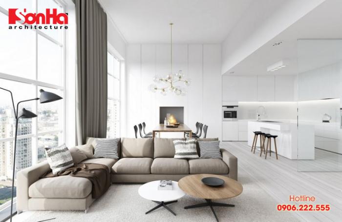 Không gian phòng khách sáng bừng với thiết kế tối giản nhưng khoa học