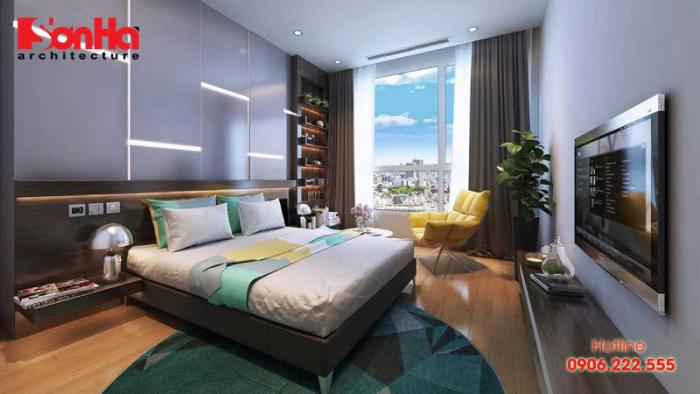 Không gian sinh động đầy màu sắc cho phòng ngủ căn hộ cao cấp