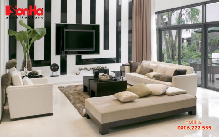 Màu sắc phù hợp thiết kế phòng khách người tuổi Nhâm Tý là xanh lá, nâu, xanh lam, đen