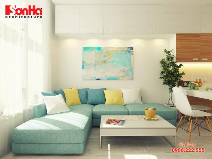 Màu sắc tinh tế làm nên điểm nhấn của không gian nội thất phòng khách