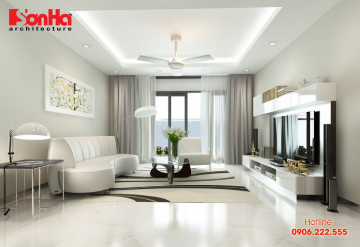 Màu sắc trang trí hợp với phòng khách tuổi Nhâm Thân là màu trắng