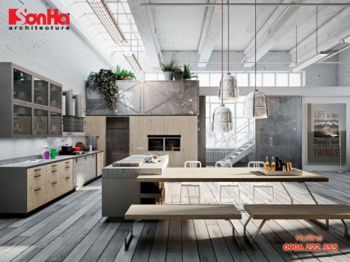 Mẫu thiết kế phòng bếp đẹp phong cách công nghiệp ấn tượng tinh tế