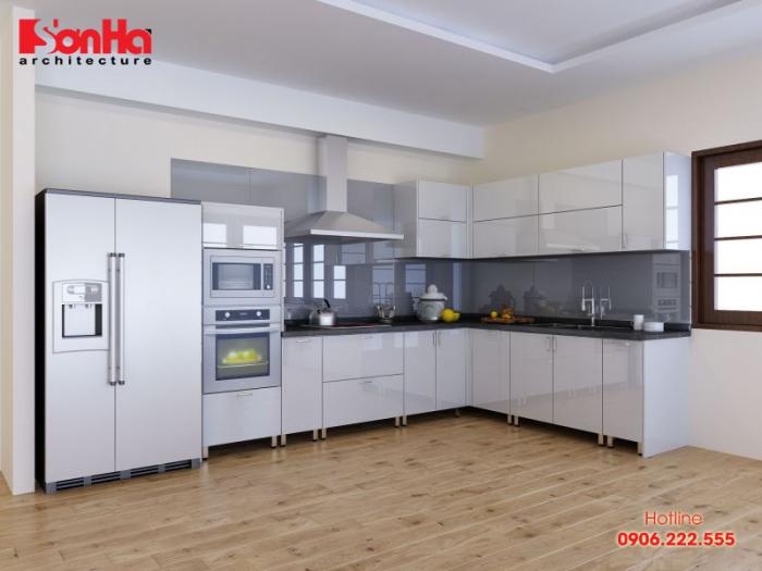 Mẫu tủ bếp tân cổ điển làm từ gỗ tự nhiên cho không gian bếp đẹp và sang