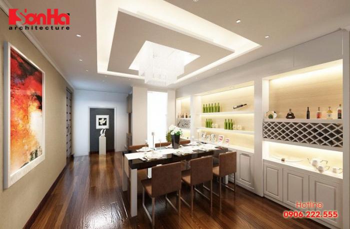 Phòng bếp ăn căn hộ đẹp mỹ mãn với sàn gỗ và nội thất được đầu tư cao cấp