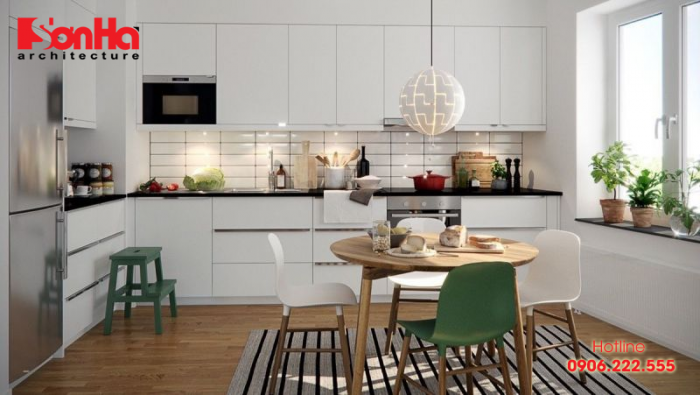 Phòng bếp ấn tượng với thiết kế nhẹ nhàng, thanh thoát và tiện nghi