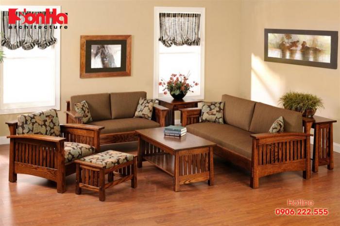 Phong cách hiện đại được làm nổi bật với bộ sofa phòng khách