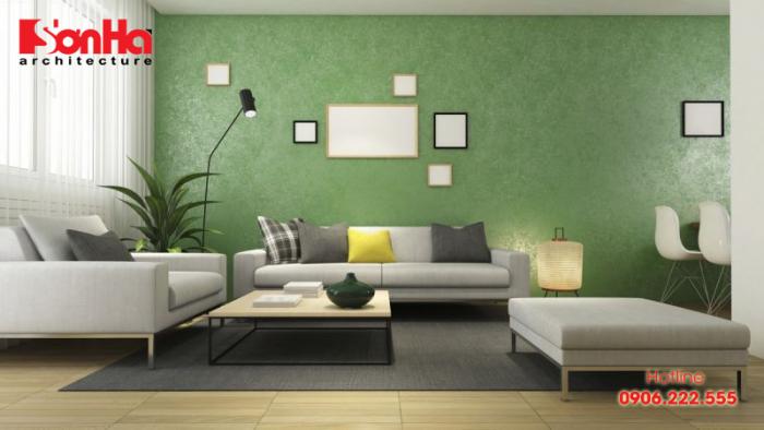 Phòng khách người tuổi Tân Mão nên chọn màu xơn xanh lá, nâu gỗ hoặc xanh lam