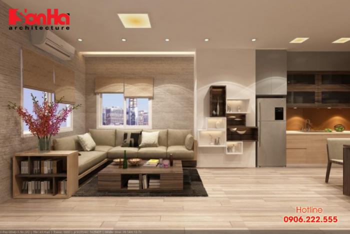 Phương án thiết kế nội thất phòng khách căn hộ ấn tượng với gam màu trầm