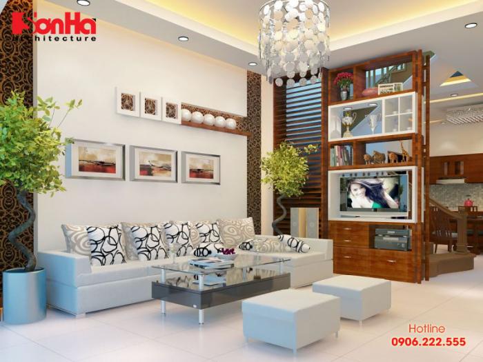 Phương án thiết kế phòng khách nhà ống với cách bố trí vật dụng gọn gàng