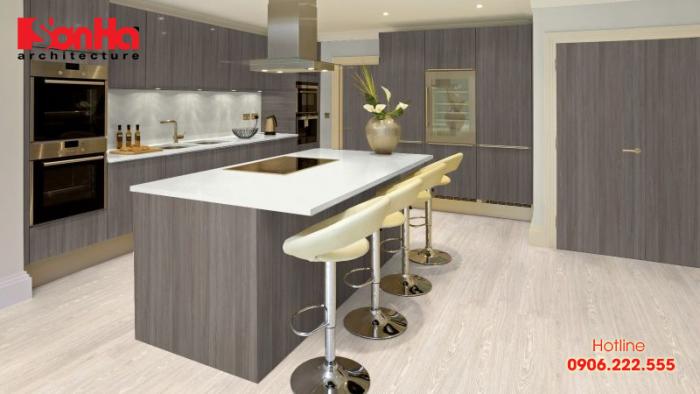 Thêm phương án sử dụng gỗ tối màu cho không gian bếp thêm ấm cúng