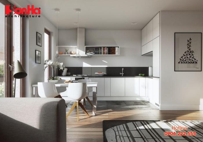 Thiết kế bếp ăn căn hộ tinh tế với gam màu hợp thời và tủ bếp gỗ công nghiệp