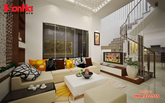 Thiết kế nội thất nhà phố phong cách hiện đại với gam màu nổi bật