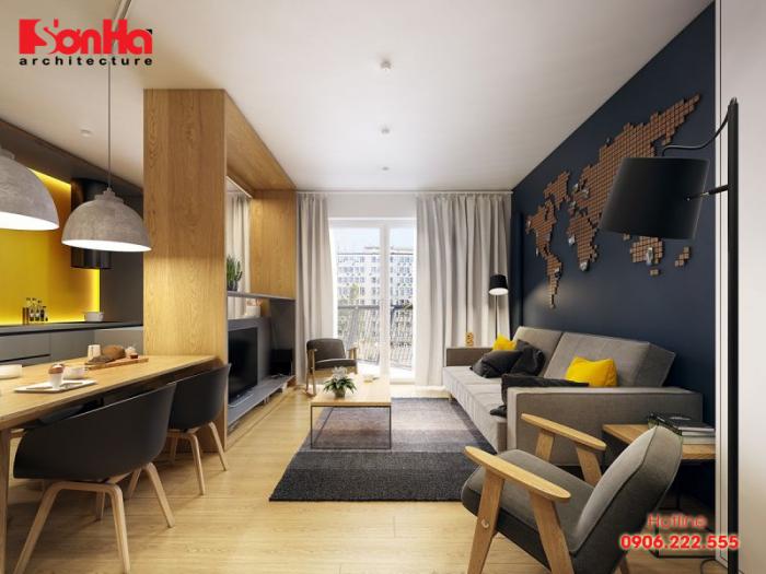 Thiết kế phòng khách căn hộ chung cư gọn gàng ngăn nắp với nội thất phù hợp