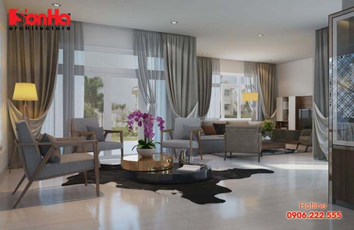 Thiết kế phòng khách đẹp phong cách hiện đại với gam màu trầm sang trọng