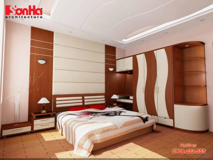 Thiết kế phòng ngủ lạ mắt với vật liệu gỗ được tạo hình sáng tạo