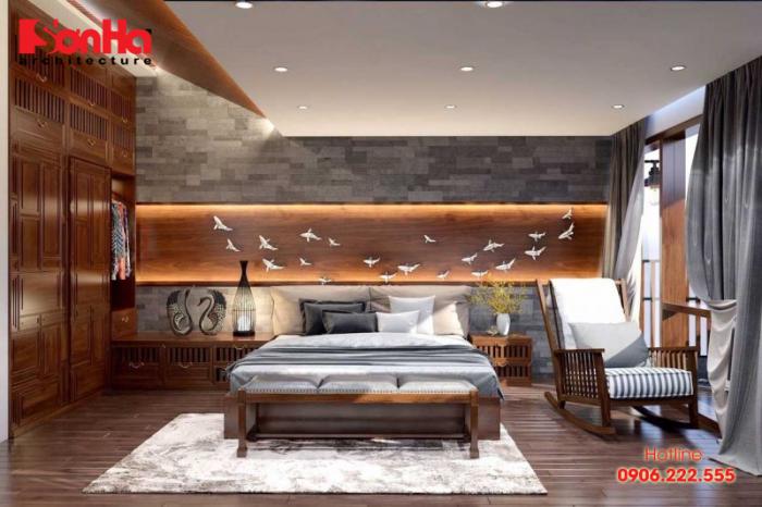 Thiết kế phòng ngủ phong cách đồng quê đẹp mắt với nội thất gỗ