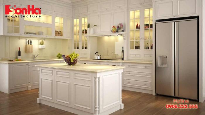 Trang trí nội thất nhà bếp đẹp mắt và phong thủy với gỗ sồi sơn trắng