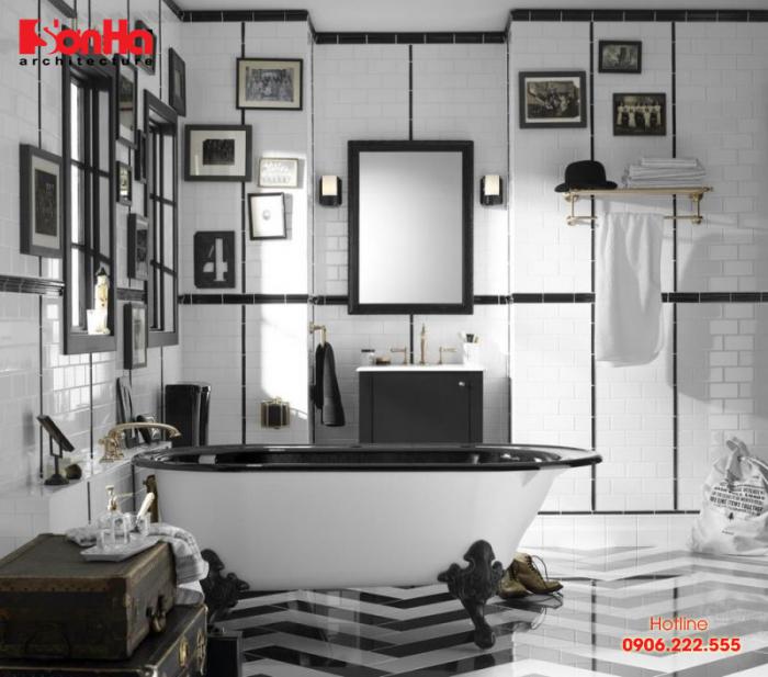 Trang trí phòng tắm và vệ sinh với gam màu hoặc đen sẫm