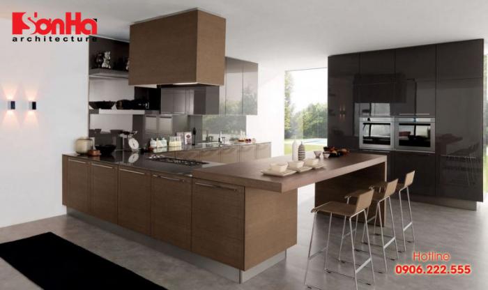 Yêu thích tủ bếp gỗ và bàn ăn gỗ thì bạn có thể chọn mẫu bếp hiện đại này