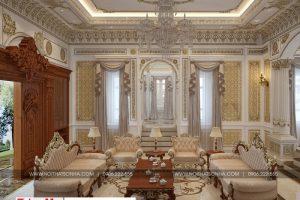 1 Thiết kế nội thất phòng khách cổ điển biệt thự lâu đài tại gia lai