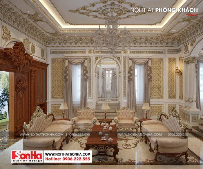 Không gian nội thất phòng khách cổ điển của biệt thự lâu đài xa hoa