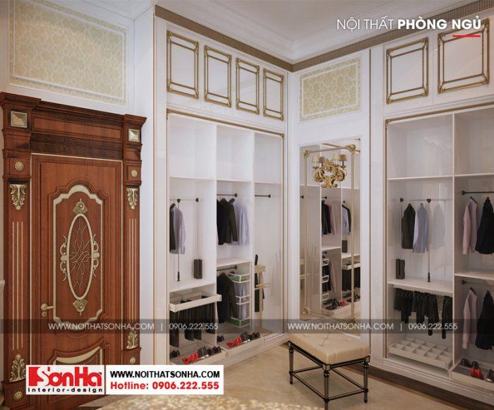 Thiết kế nội thất phòng thay đồ trong không gian phòng ngủ lâu đài 3 tầng
