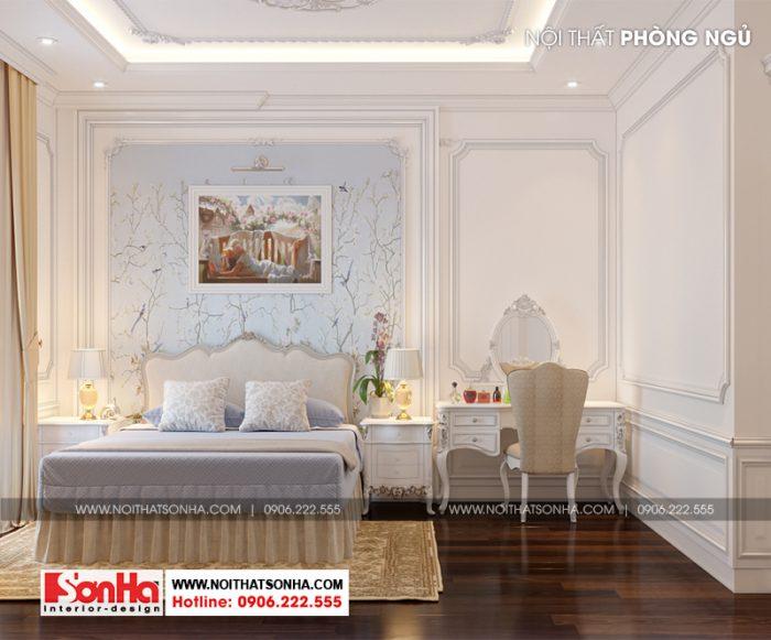 Sàn gỗ là vật liệu được sử dụng nhiều trong thiết kế phòng ngủ biệt thự này