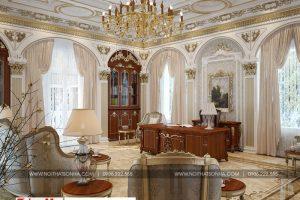 15 Thiết kế nội thất thư phòng cổ điển biệt thự lâu đài 3 tầng 1 hầm tại gia lai