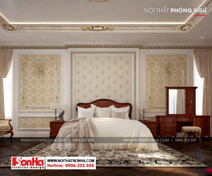 Thiết kế nội thất phòng ngủ có phần đơn giản hơn nhưng vẫn toát nét sang trọng