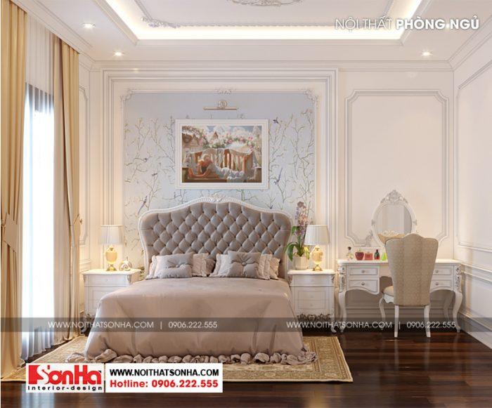 Bộ giường ngủ cao cấp có màu sắc khá phù hợp với màu nội thất